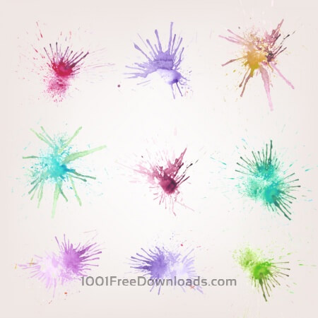 Free Watercolor splashes set