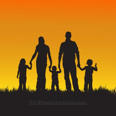 Free Family with children silhouette illustration