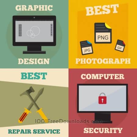 Free Mini poster set of design, photography, repair, computer jobs