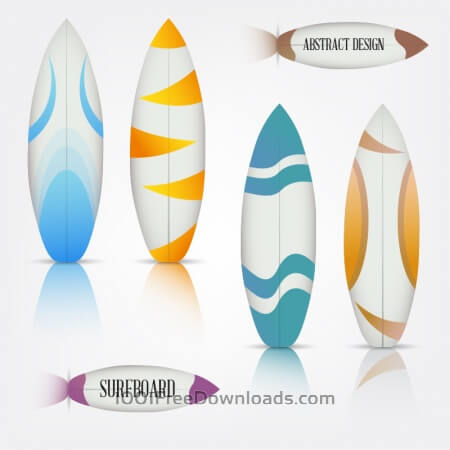 Free Colorful surfboards set