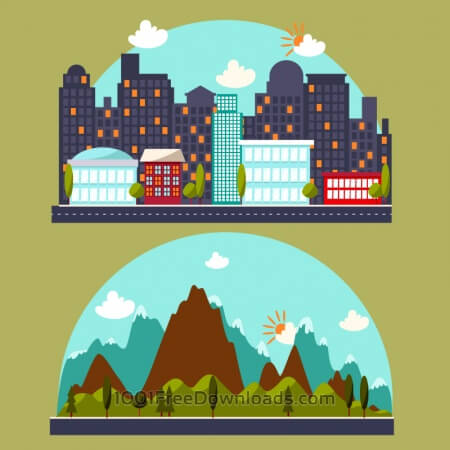 Free Illustration with city and mountain landscape