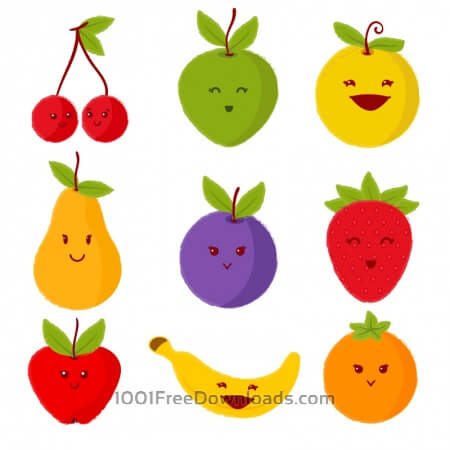Free Set of cute fruits