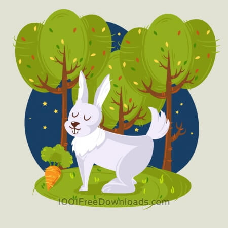 Rabbit in the woods vector illustration