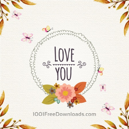 Free Vintage floral illustration with frame and butterflies