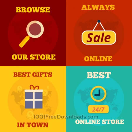Free Online shopping flat concept design