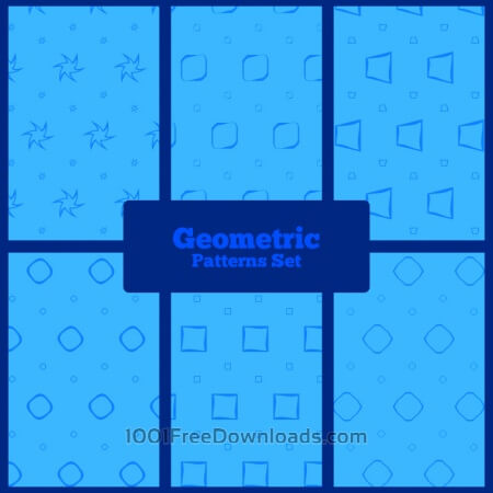 Free Blue geometric patterns set