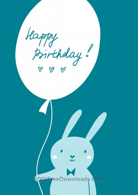 Free Happy Birthday card with cute bunny