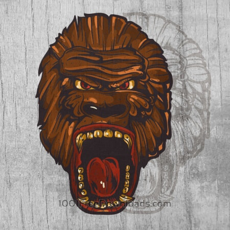 Free Ape head  mascot on wood texture