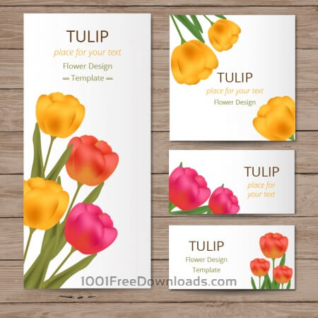 Free Floral cards with tulips on wood texture