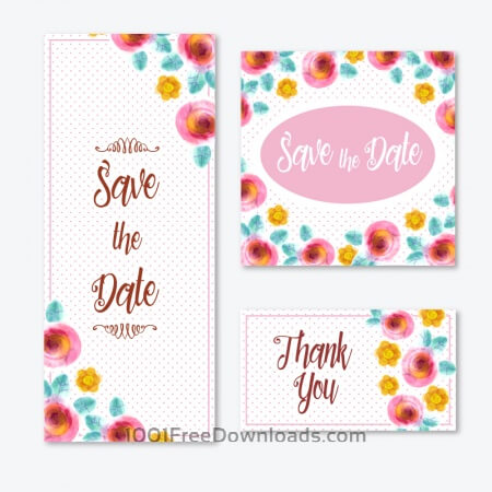 Free Watercolor cards with flowers