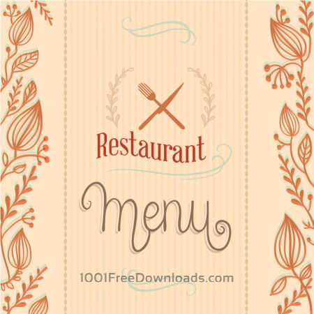 Free Restaurant menu with florals