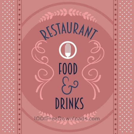 Free Restaurant card with floral decorations