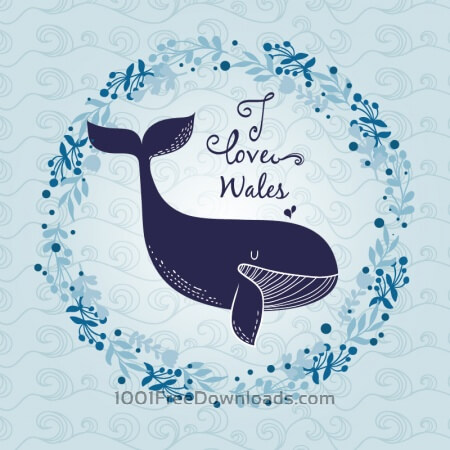 Free Whale with abstract wave pattern and floral frame