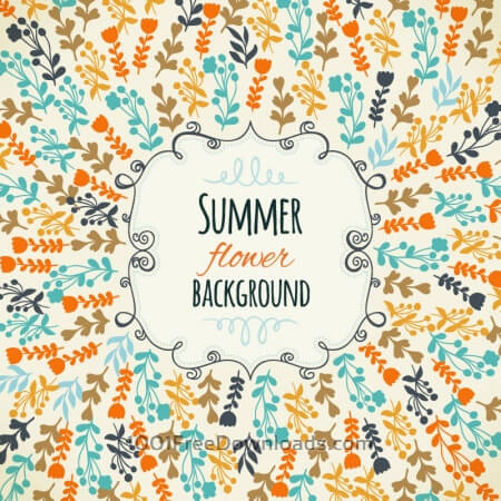 Free Floral background with cute frame
