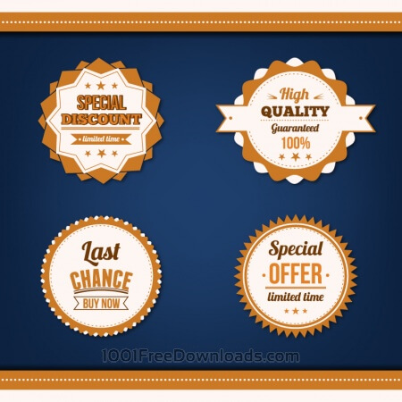 Free Sale badges vector set