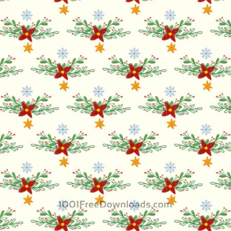 Free Christmas pattern with floral decoration