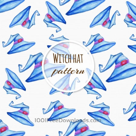 Free Watercolor pattern with hat