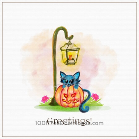 Free Watercolor pumpkin with cat