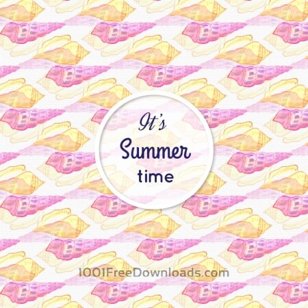 Free Watercolor summer pattern with sea shells