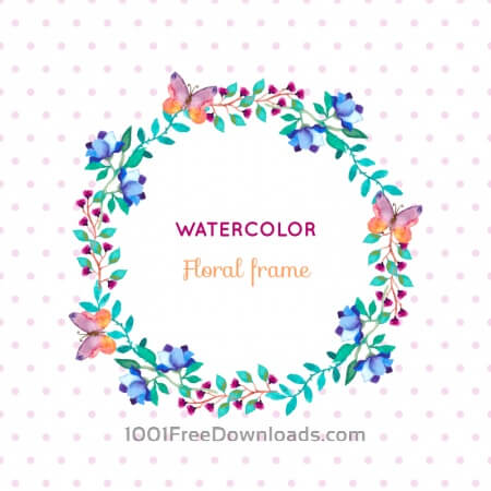 Free Watercolor floral frame with butterflies