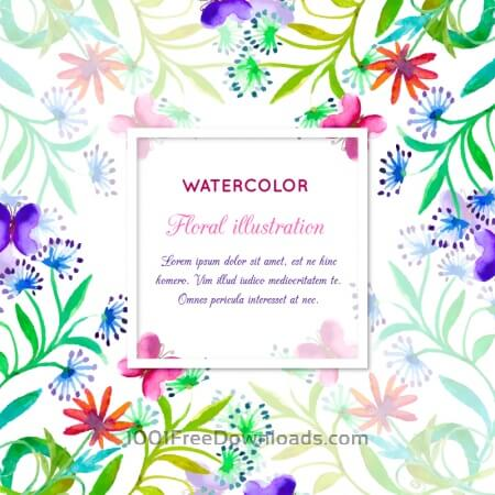 Free Watercolor invitation with floral frame
