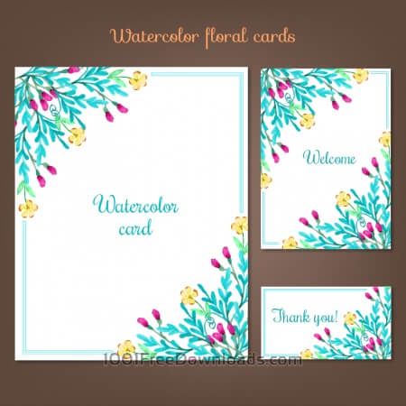 Free Watercolor cards with summer flowers