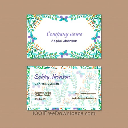 Free Watercolor business card with flower