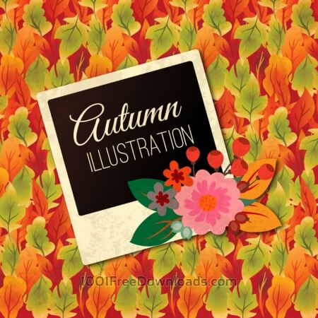 Free Autumn Illustration With Photo Frame