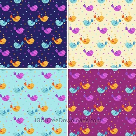Pattern With Doodle Birds