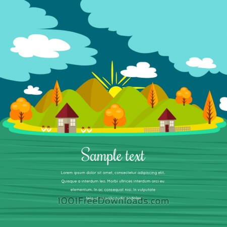 Free Summer illustration with mountain landscape