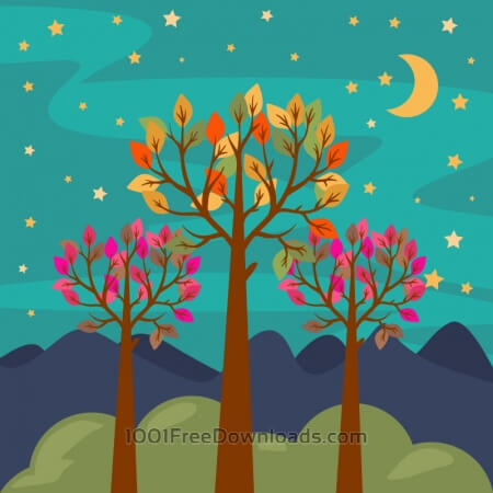 Free Night forest landscape