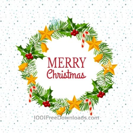 Free Christmas wreath on snowy background