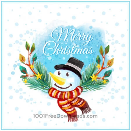 Free Watercolor Christmas illustration with snowman