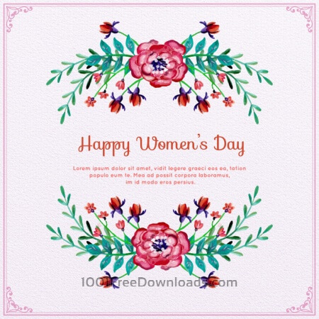 Free Watercolor Women's Day Floral Frame