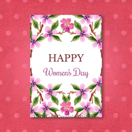 Free Watercolor Women'Day Cards