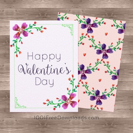 Free Watercolor Valentine'Day Cards