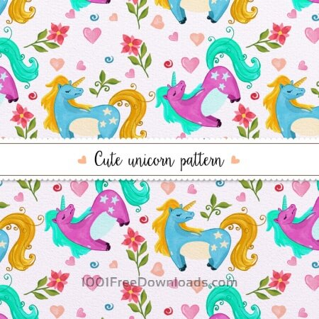 Free Watercolor unicorn pattern