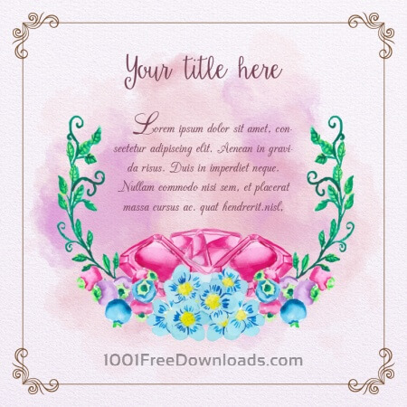 Free Cute watercolor frame with diamonds and flowers