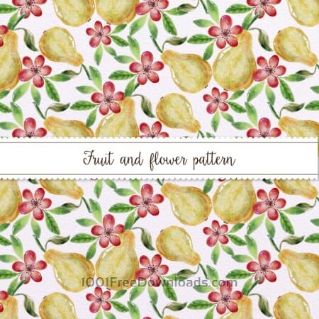 Free Watercolor Pattern With Pears and Flowers
