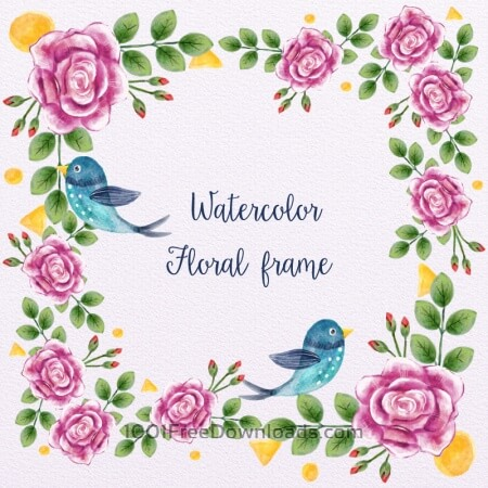 Free Watercolor Floral Frame With Birds