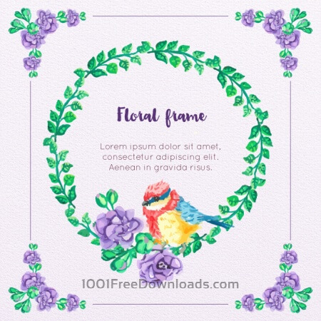 Free Watercolor Floral Frame With Bird
