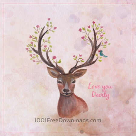 Free Watercolor reindreer with big antlers, spring flowers on the horns, branches, cherry blossom