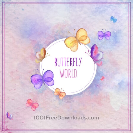 Free Watercolor butterfly card