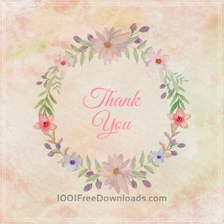 Free Watercolor vintage floral greeting card. Watercolor flowers frame