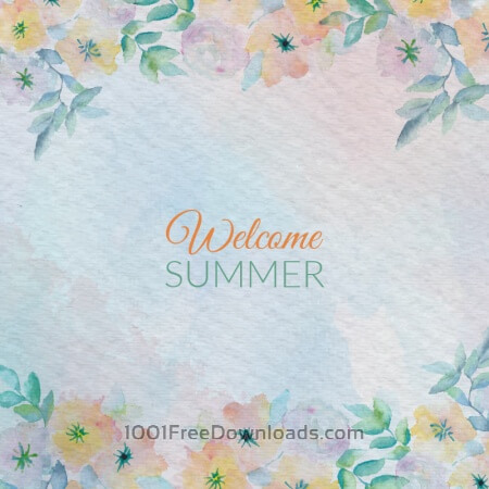 Free Watercolor summer greeting card flowers. Watercolor greeting card flowers.