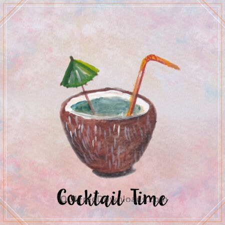 Free Watercolor coconut cocktail