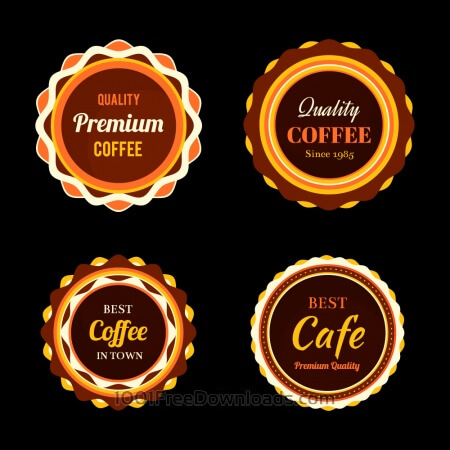 Free Set of coffee retro vintage badges and labels