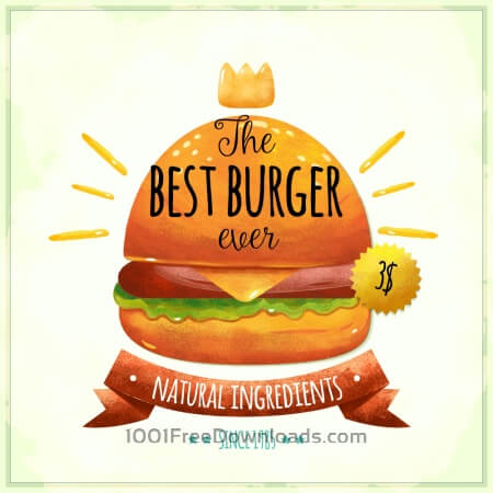 Free Watercolor burger card