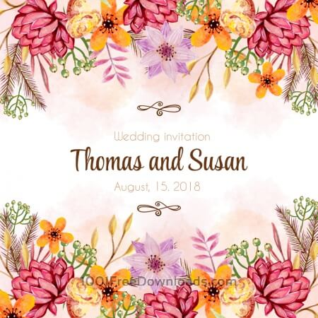 Free Watercolor wedding invitation