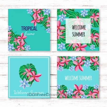 Free Tropical summer card collection